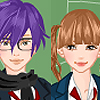 Cute school couple dress up game